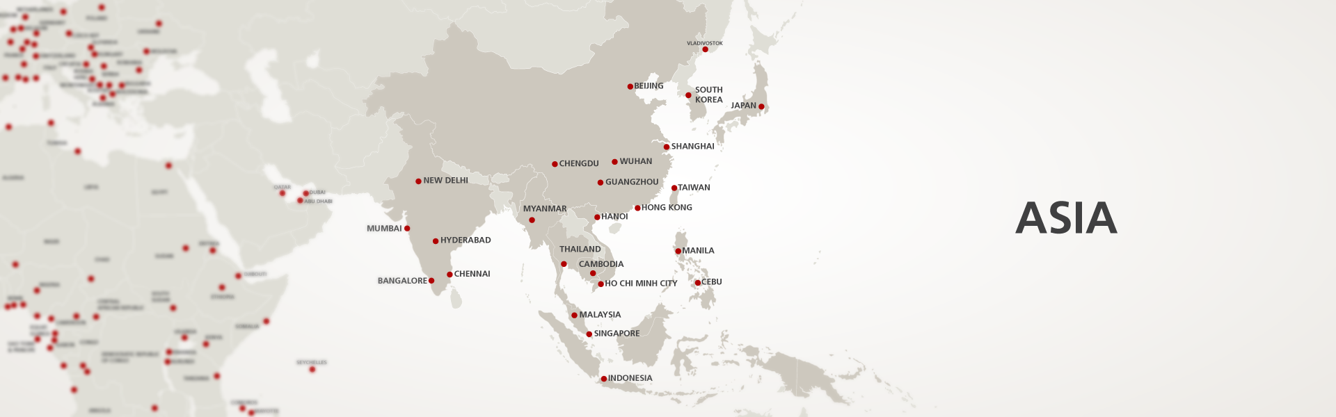 Map of AGS moving companies in Asia
